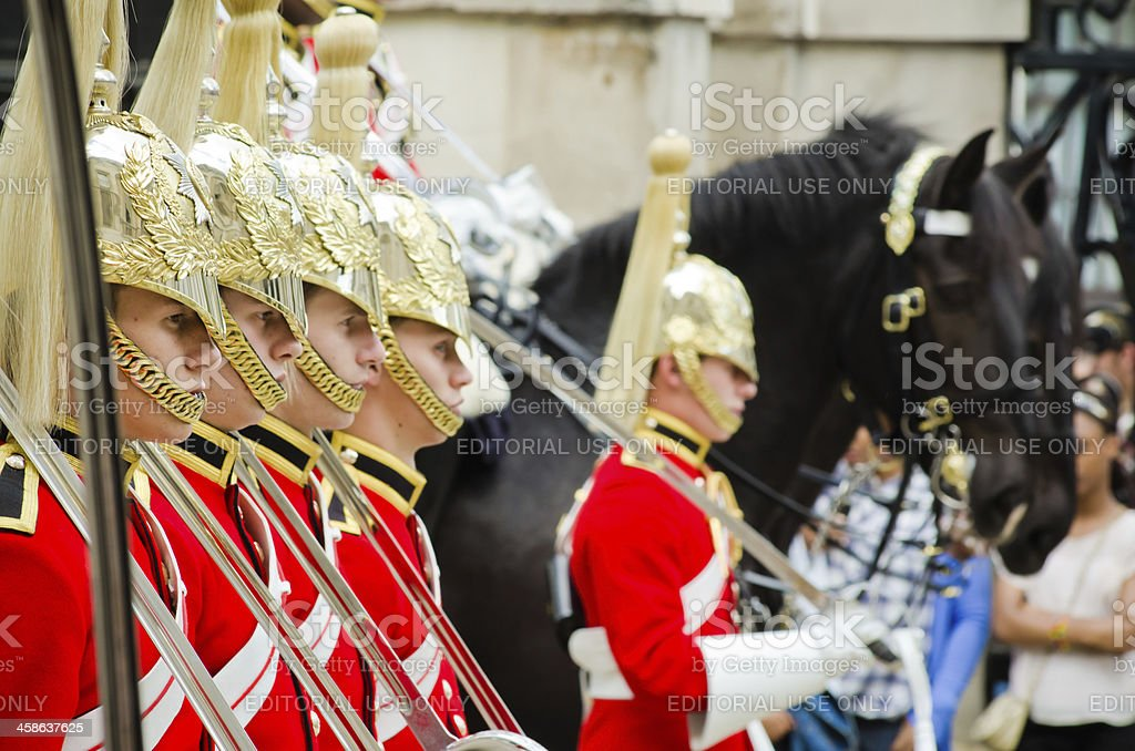 Cavalry stands ready for inspection at Horse Guards stock photo
