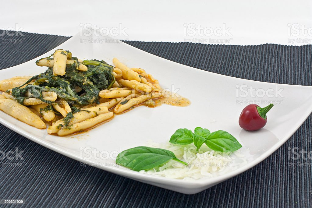 Cavatelli and turnip tops from Puglia stock photo