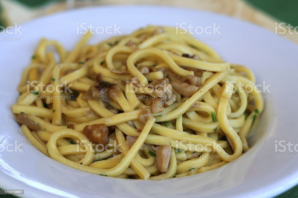 Cavatelli Pasta with Mushrooms stock photo