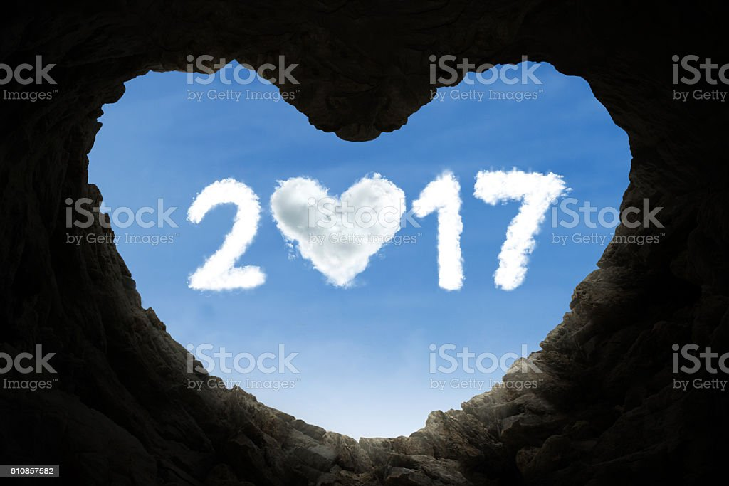 Cave and number 2017 full of love stock photo