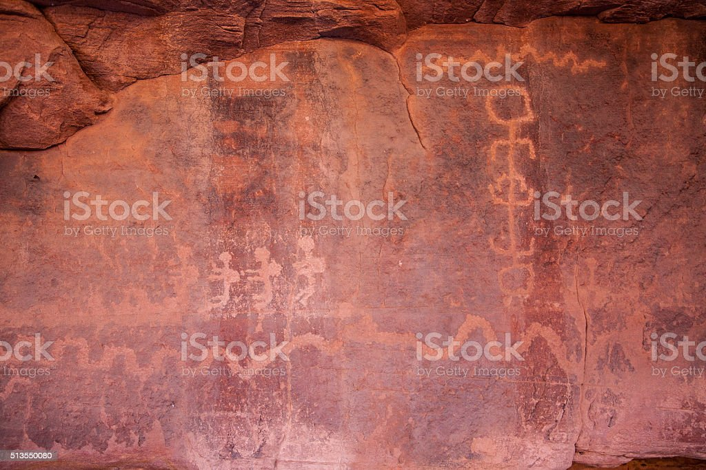Cave carvings in Zion National Park stock photo