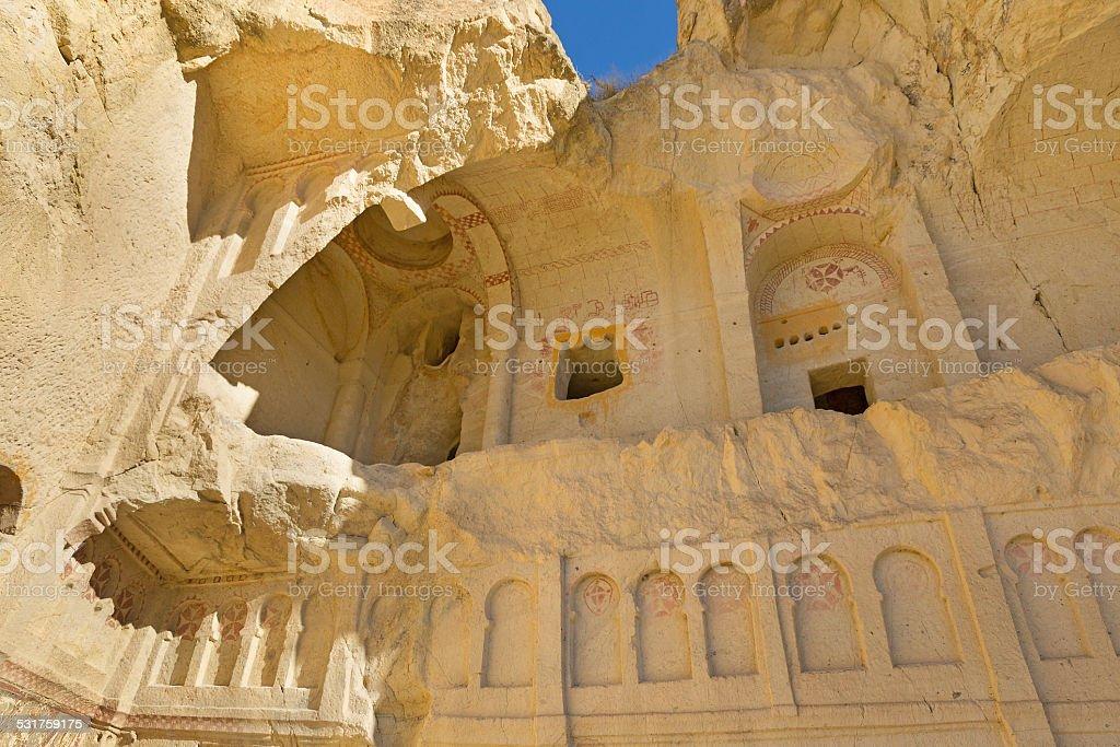 Cave church in Cappadocia stock photo