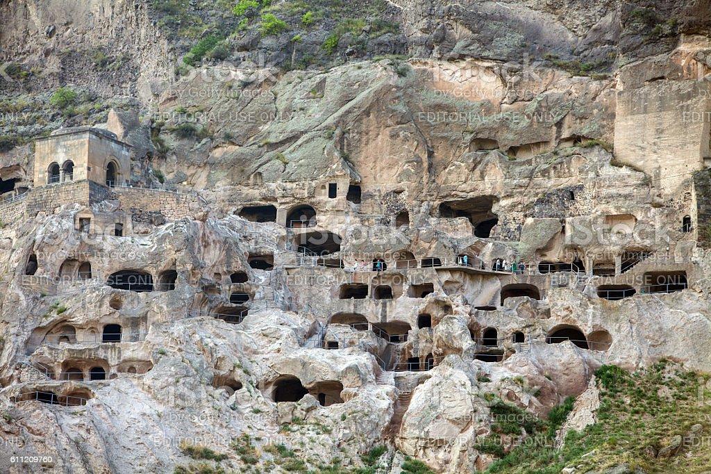 Cave dwellings in Vardzia, Georgia stock photo