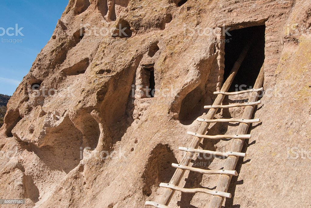 Cave Entrance and Ladder stock photo