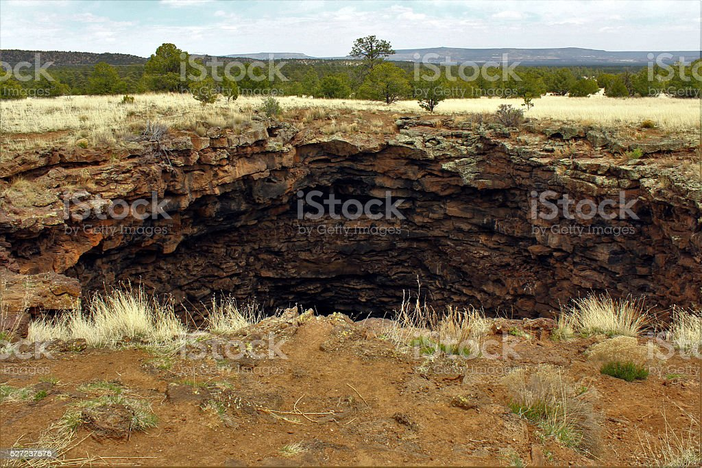 Cave Entrance at El Malpais stock photo