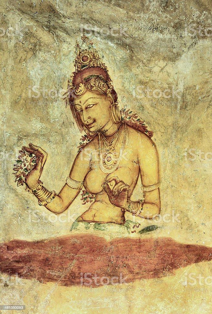 Cave Fresco Detail, Sigiriya, Sri Lanka royalty-free stock photo
