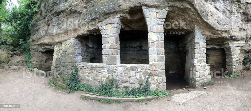 Cave houses for monks in Tihany peninsula, Hungary Europe stock photo