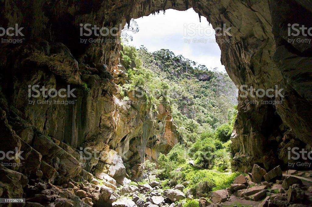 Cave in a mountainous area in Australia stock photo