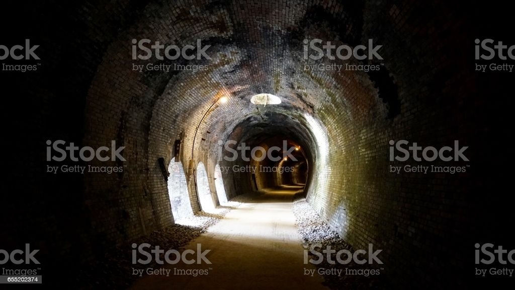 Cave in a tunnel and vertical pit part of an Abt system railroad stock photo