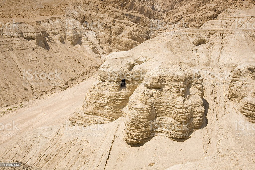 Cave in Qumran origin of the Dead Sea Scrolls royalty-free stock photo