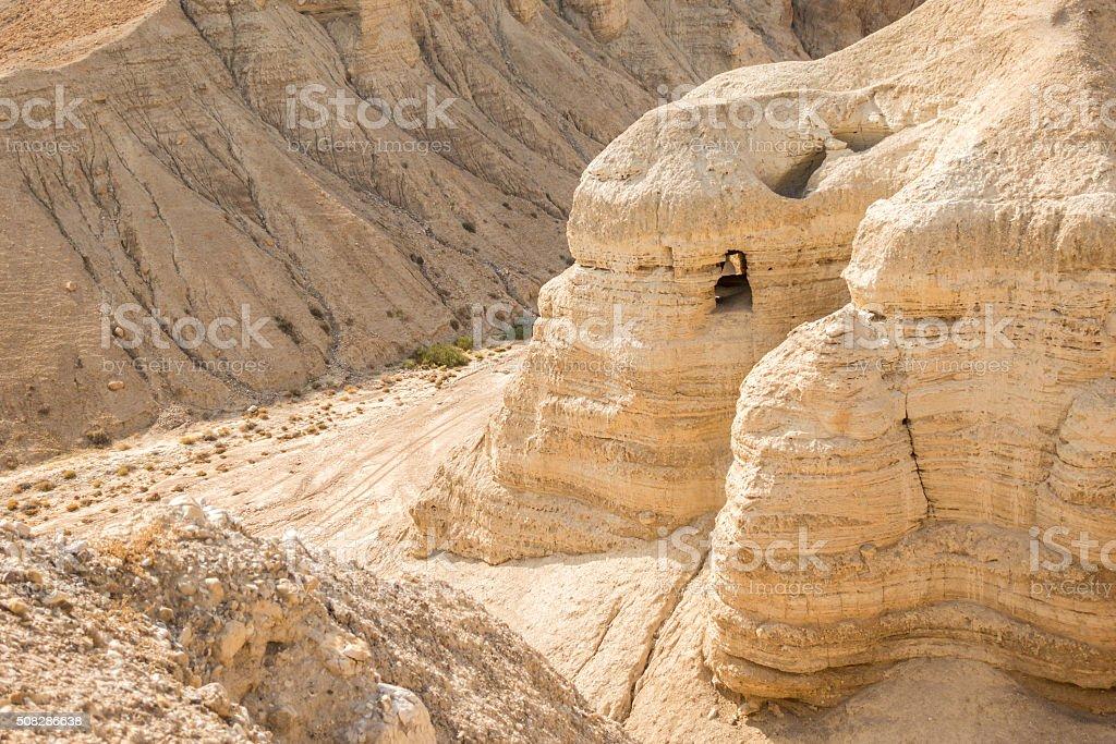 Cave in Qumran, where the dead sea scrolls were found stock photo