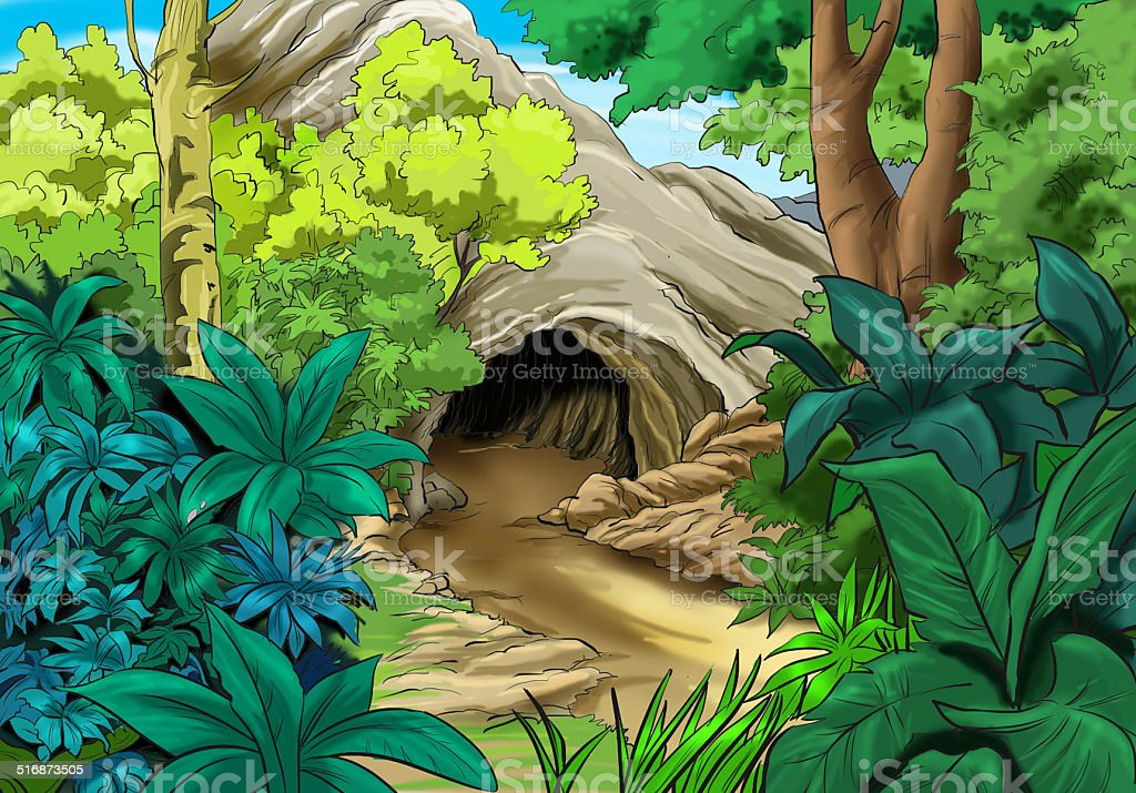 Cave in the woods stock photo
