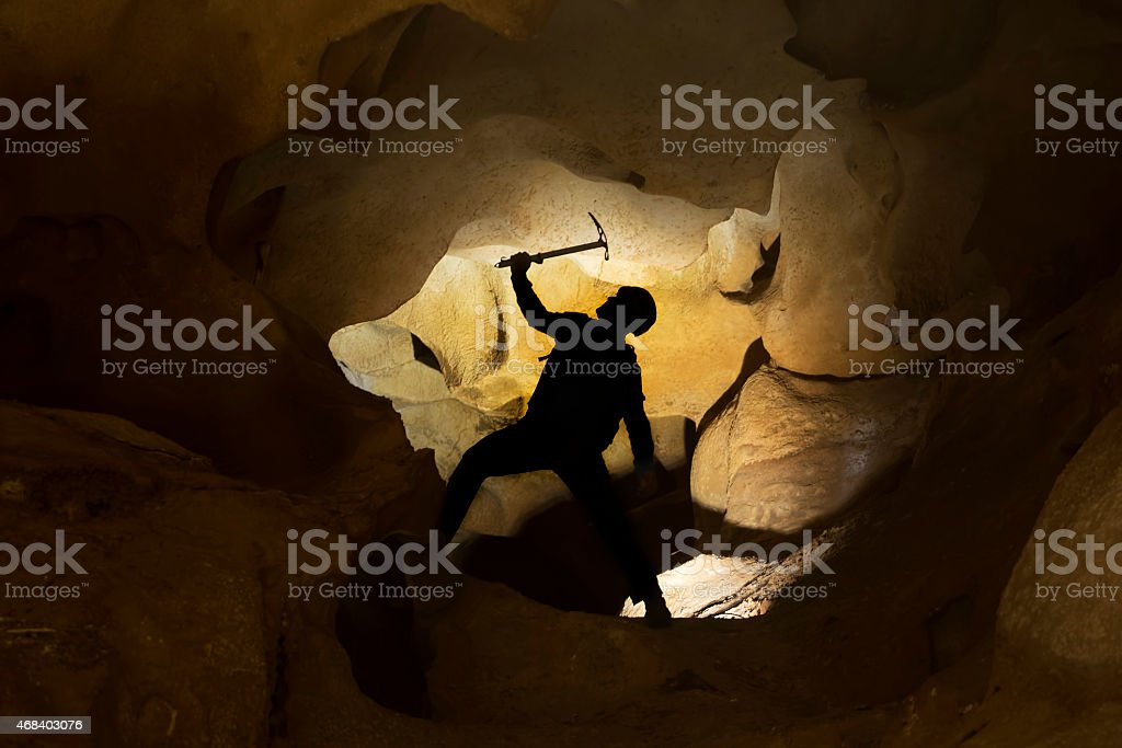 Cave investigation stock photo