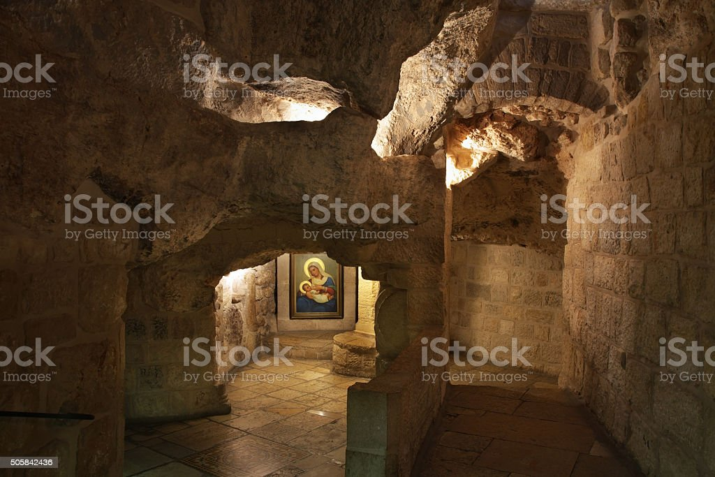 Cave of Milk Grotto church in Bethlehem. Palestinian territories. Israel stock photo