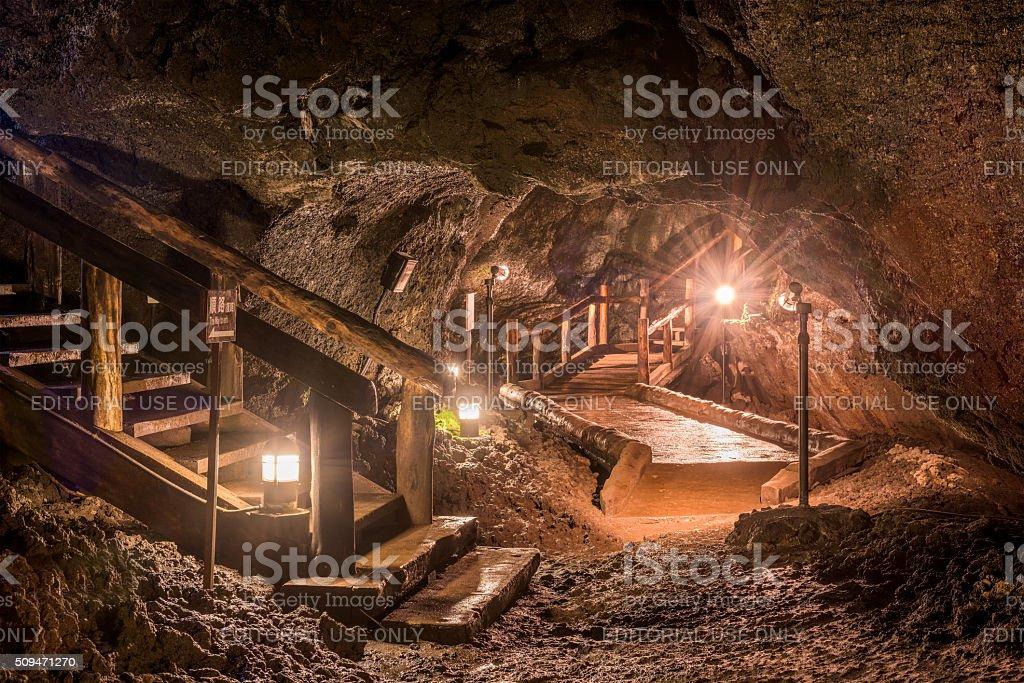 Cave of Mt. Fuji stock photo