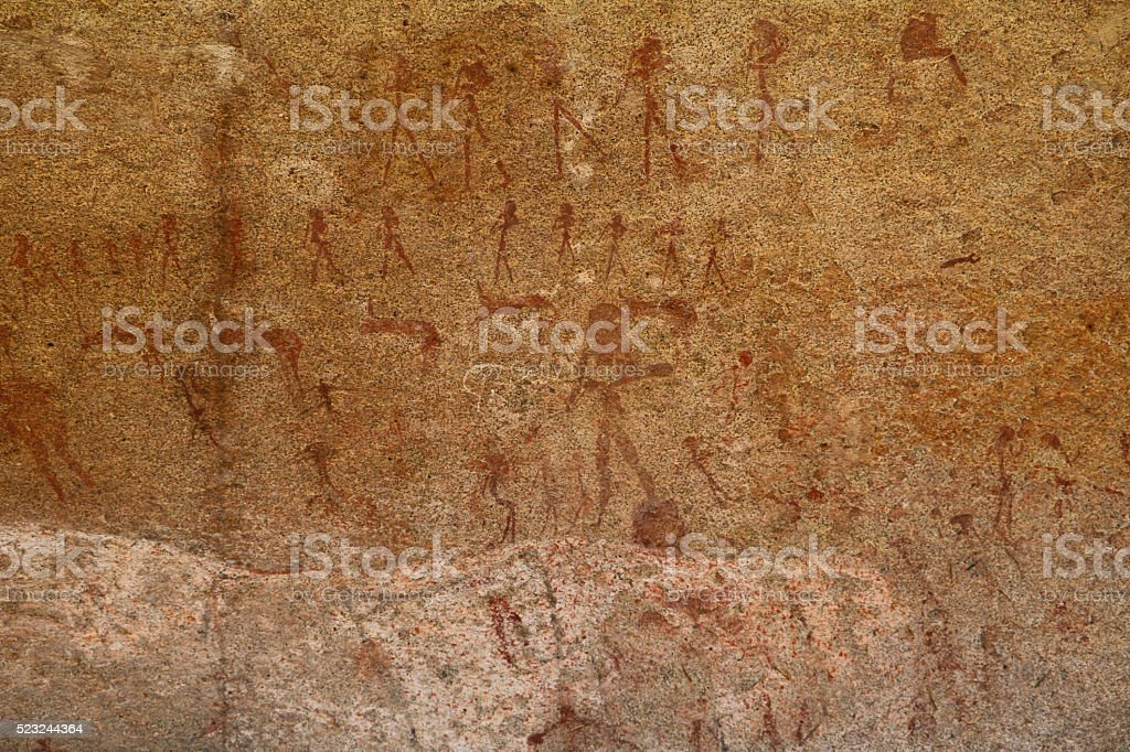 Cave painting in Phillips Cave in Erongo Mountains, Namibia Africa stock photo