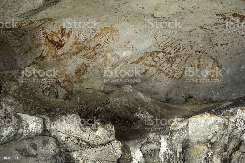 Cave Painting in punyee island, Phang Nga, Thailand. royalty-free stock photo