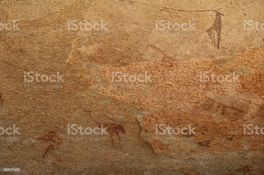 Cave Painting Ostrich in Phillips Cave, Namibia Erongo Mountains Africa stock photo