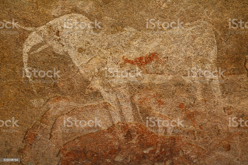Cave painting White Elephant in Phillips Cave, Namibia Africa stock photo