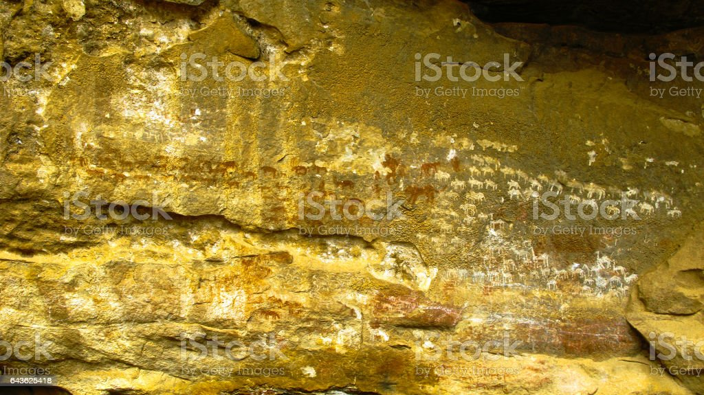 Cave paintings and petroglyphs in Adi Alauti canyon Qohaito Eritrea stock photo
