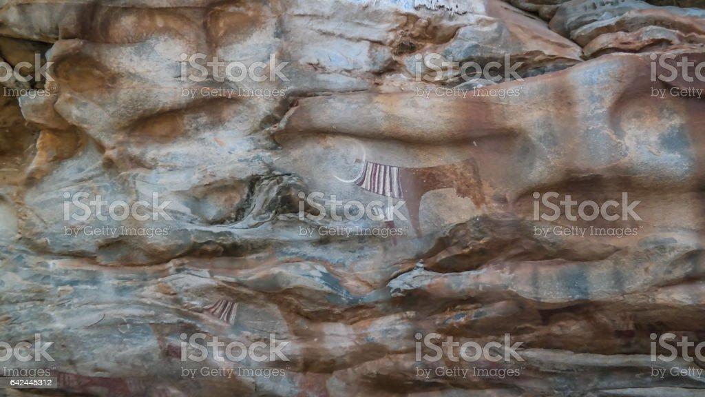 Cave paintings and petroglyphs Laas Geel near Hargeisa closeup Somalia stock photo