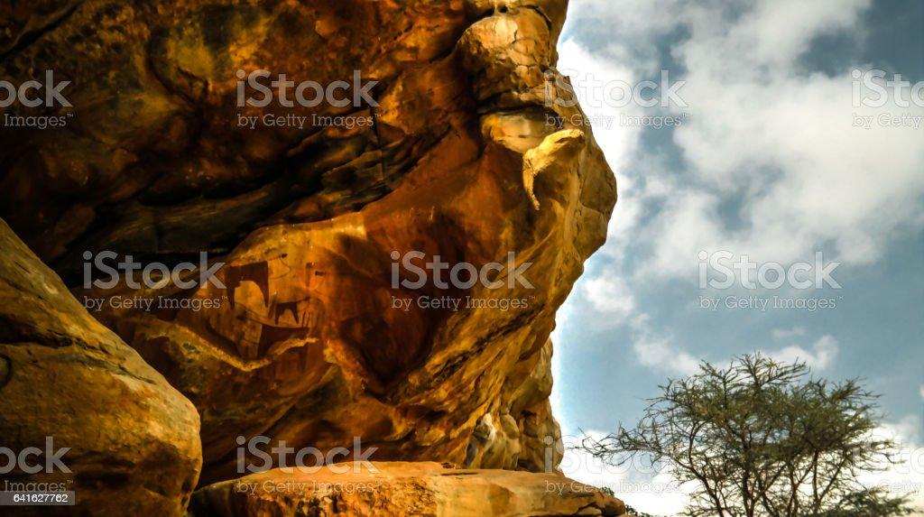 Cave paintings and petroglyphs Laas Geel near Hargeisa Somalia stock photo