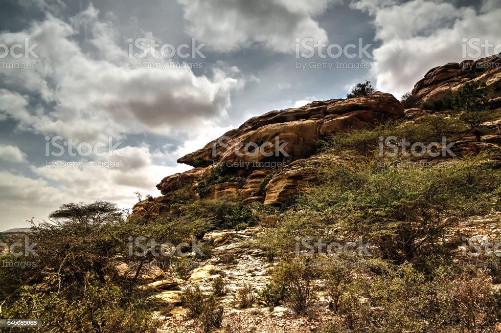 Cave paintings Laas Geel rock exterior near Hargeisa Somalia stock photo