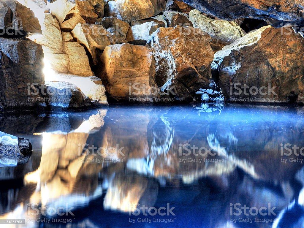 Cave reflections - Myvatn, Iceland stock photo