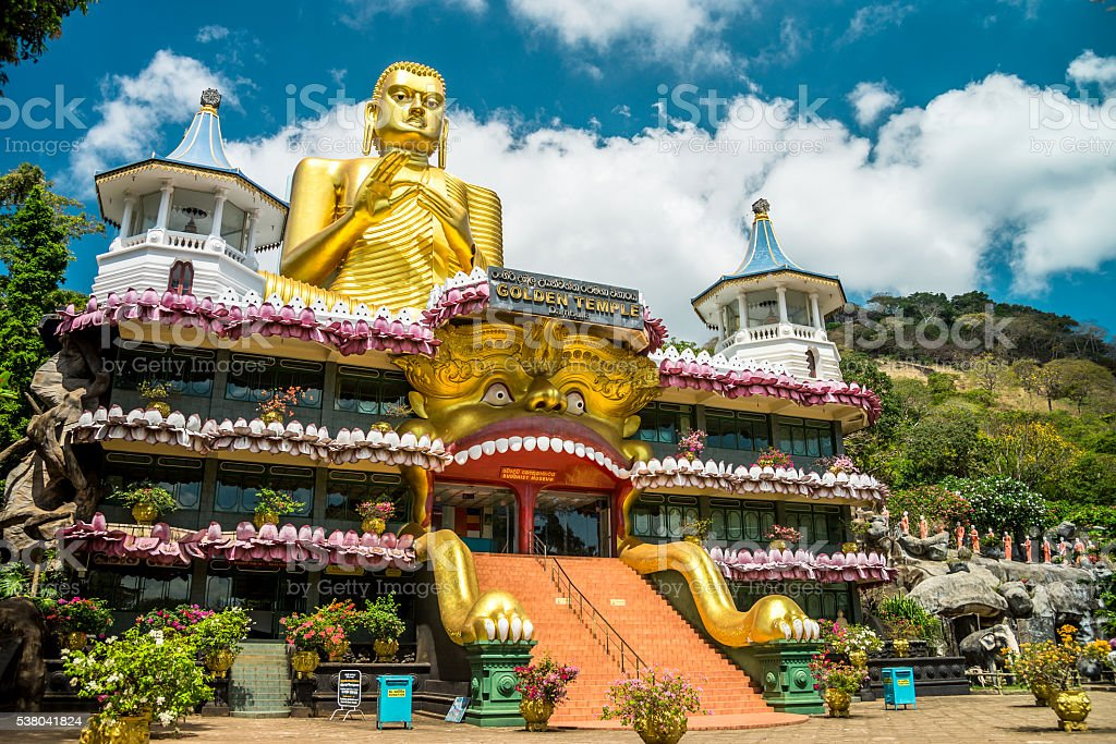 Cave temple in Dambulla, Sri Lanka. stock photo