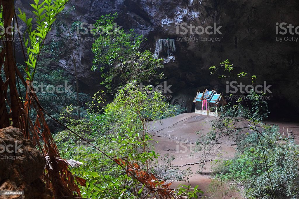 Cave temple in Thailand stock photo