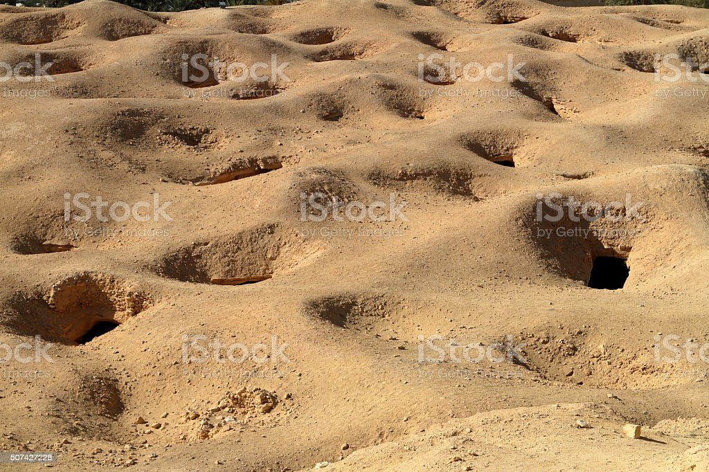 Cave tombs in the Siwa Oasis in Egypt stock photo