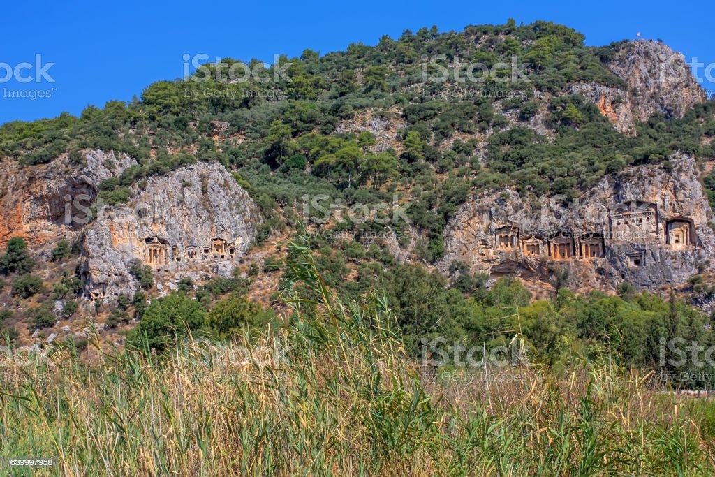 Cave tombs of Kaunos stock photo