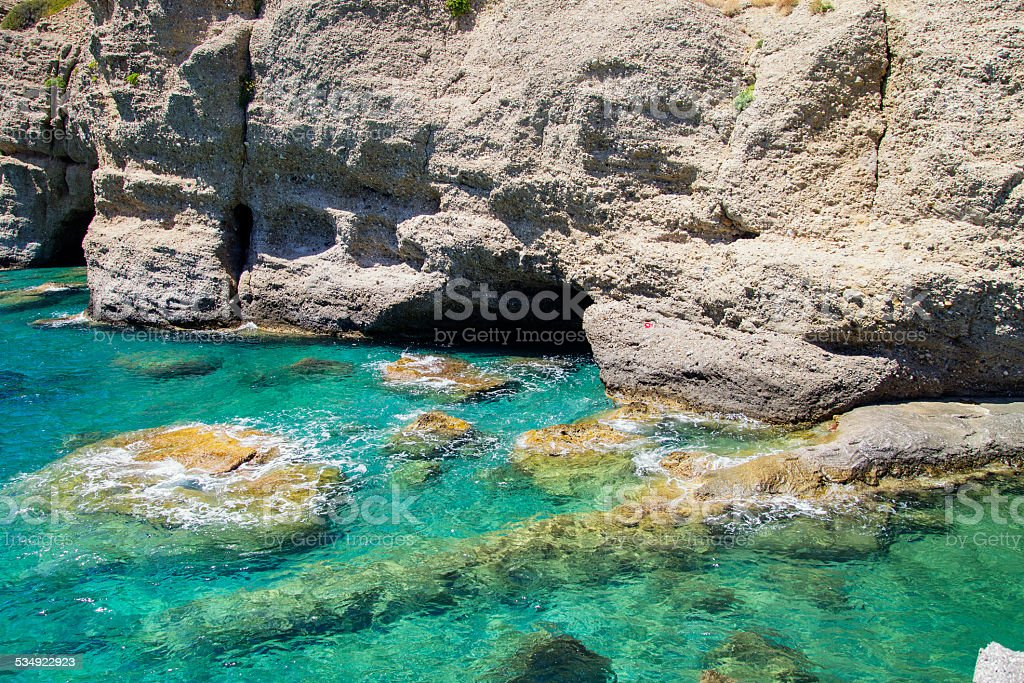 Cave under the water stock photo