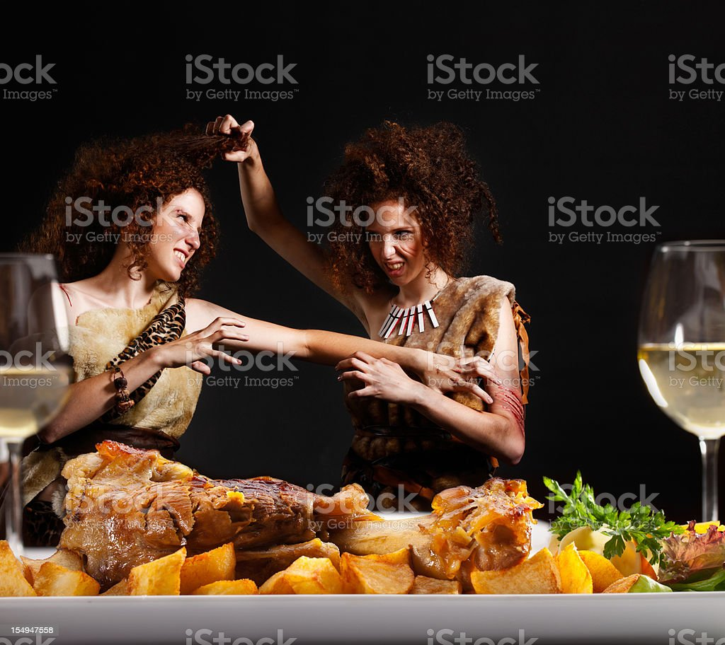 Cave woman stock photo