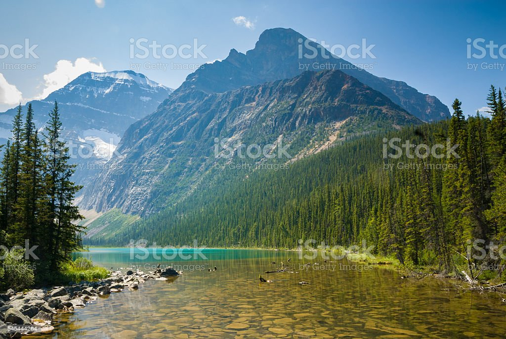 Cavell Lake in Jasper National Park, Canada stock photo