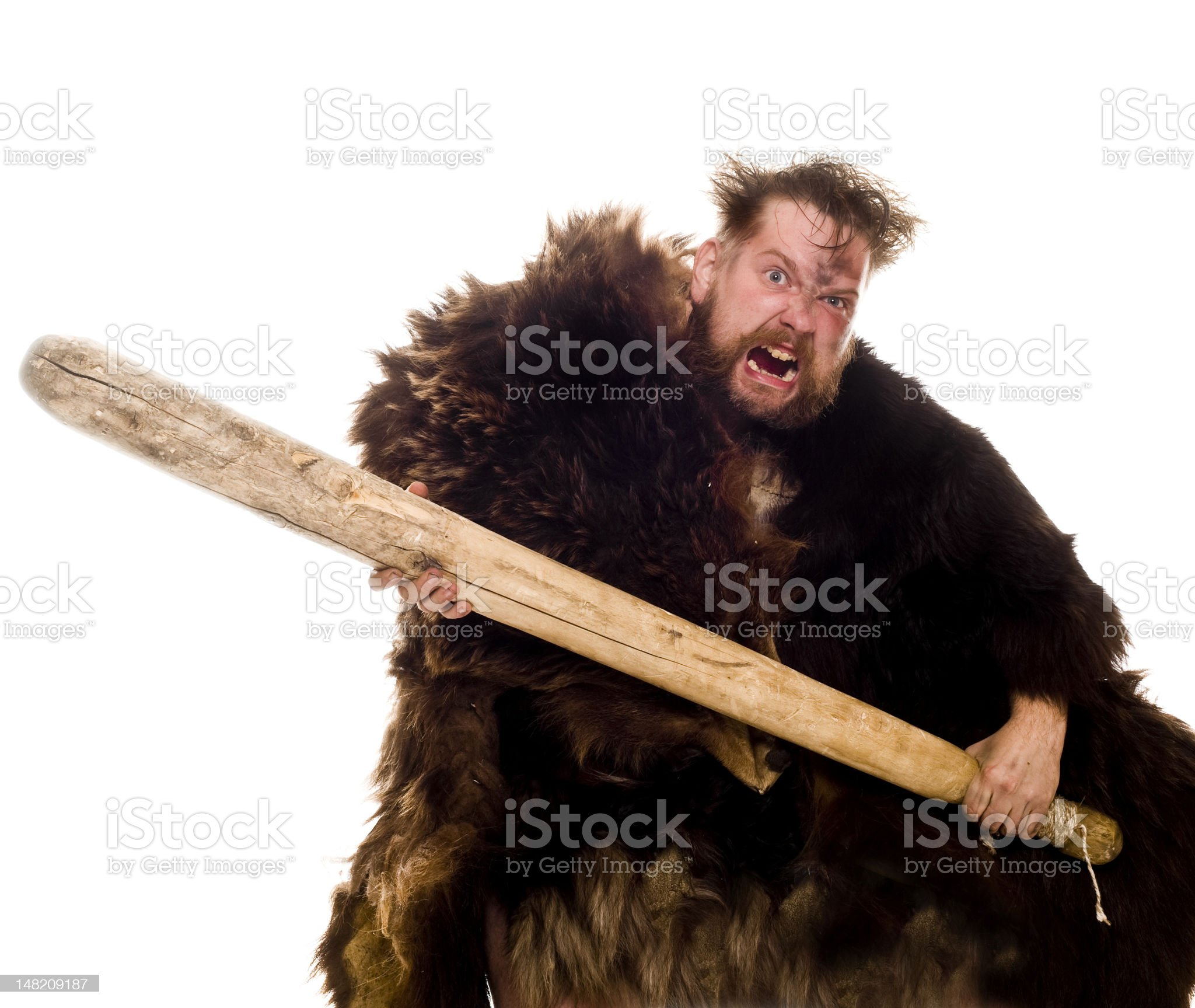 Caveman in bear skin royalty-free stock photo