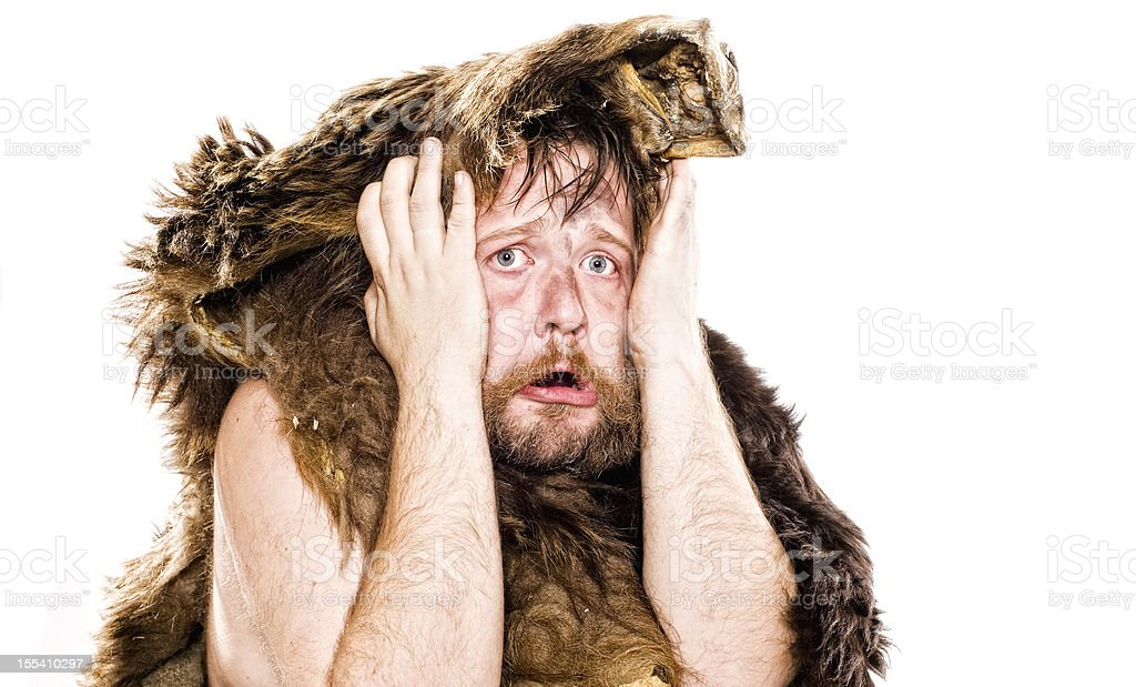 Caveman in bear skin royalty-free stock photo
