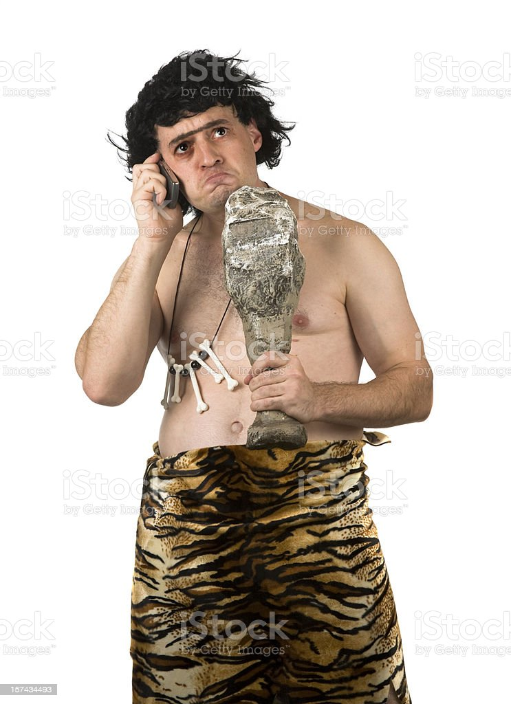 Caveman on Phone royalty-free stock photo
