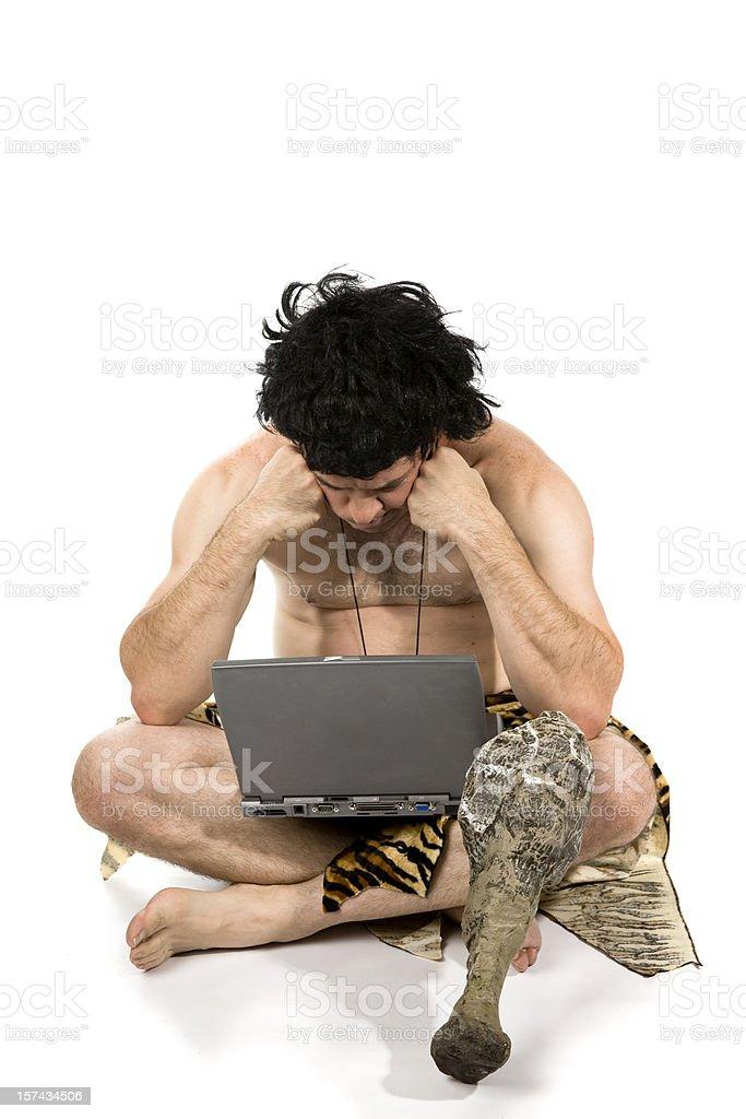 Caveman Sad stock photo