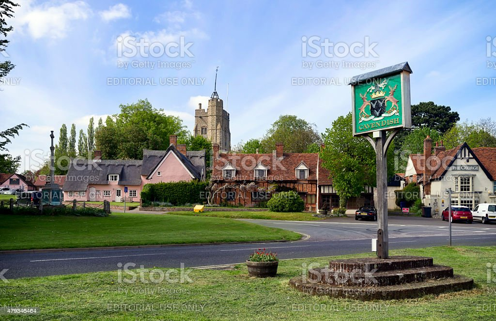 Cavendish, Suffolk, with village sign stock photo