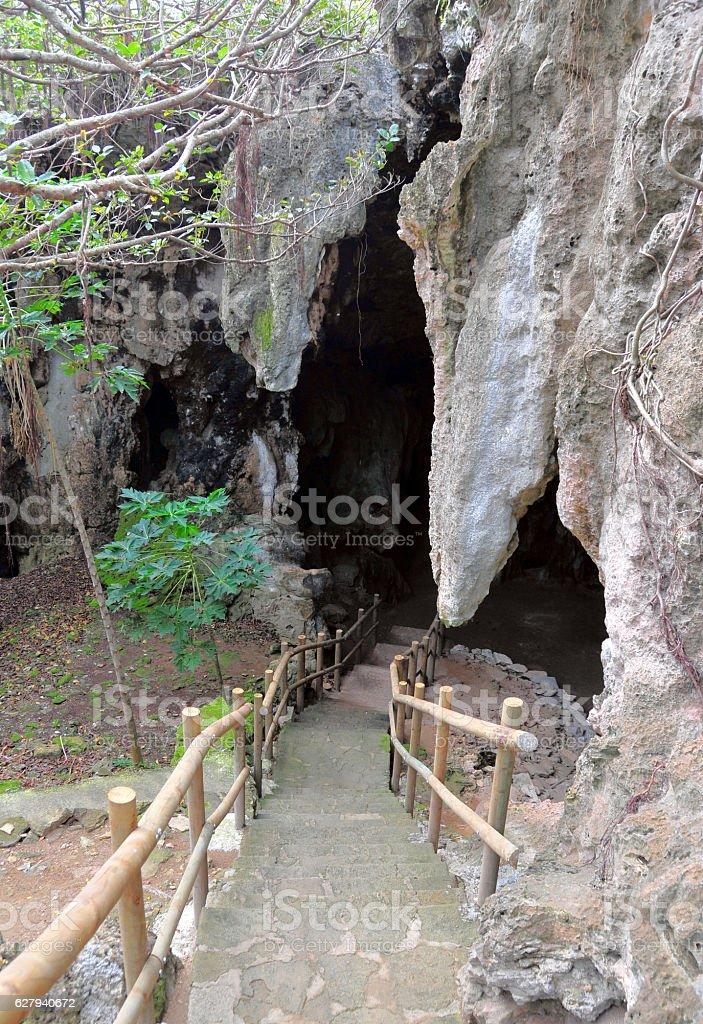 Caverne Patate entrance, Rodrigues island, Mauritius stock photo