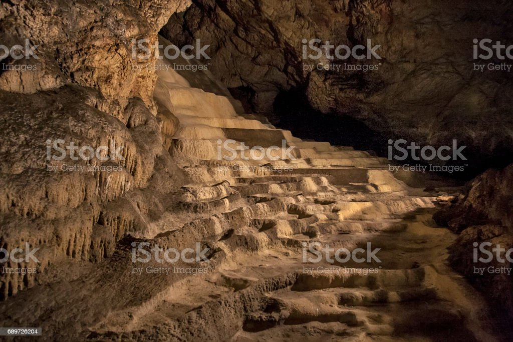 Caves and cave formations in the canyon of the river next to Bor in Serbia stock photo