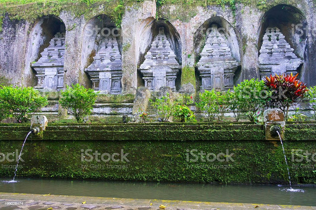 Caves in Gunung Kawi Temple in Ubud, Bali, Indonesia stock photo