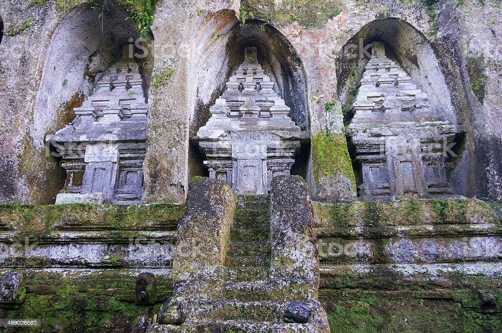 Caves in Gunung Kawi Temple in Ubud, Bali, Indonesia stock photo