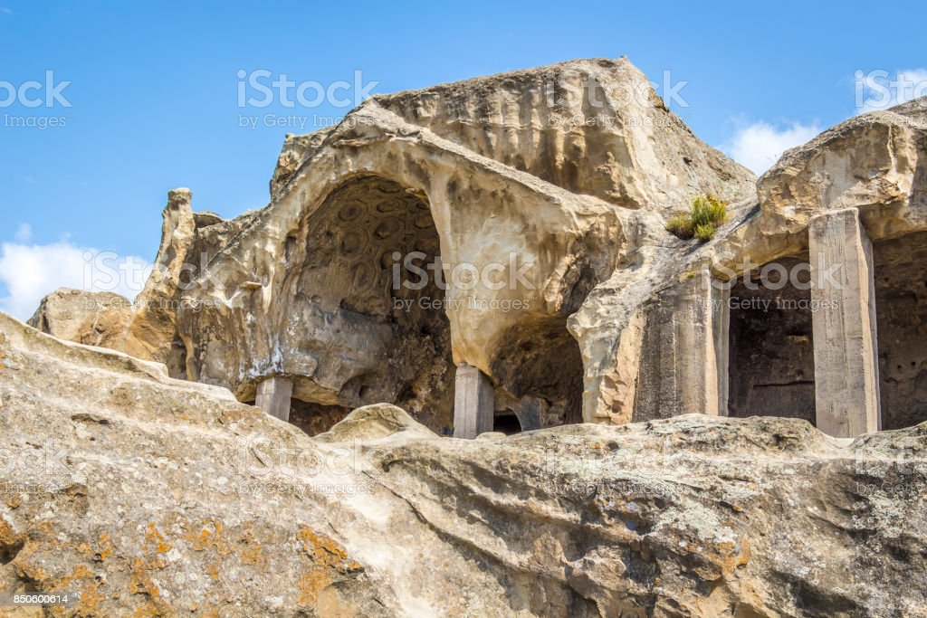 Caves of ancient people stock photo