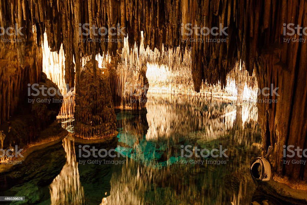 Caves of Drach with reflection in water stock photo