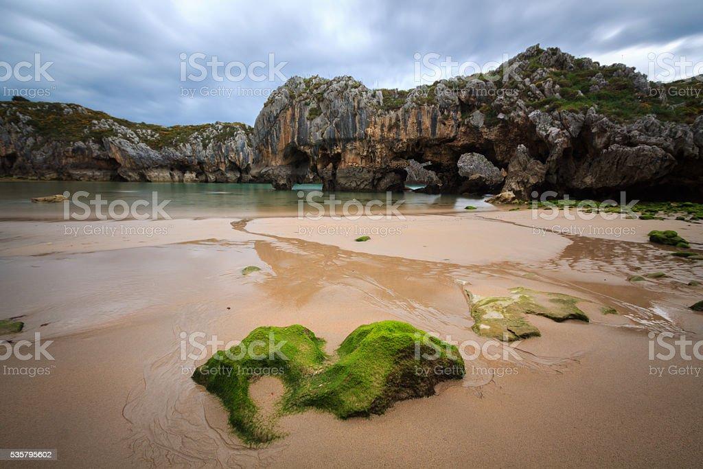 Caves of the Sea Beach, LLanes, Asturias, Spain stock photo