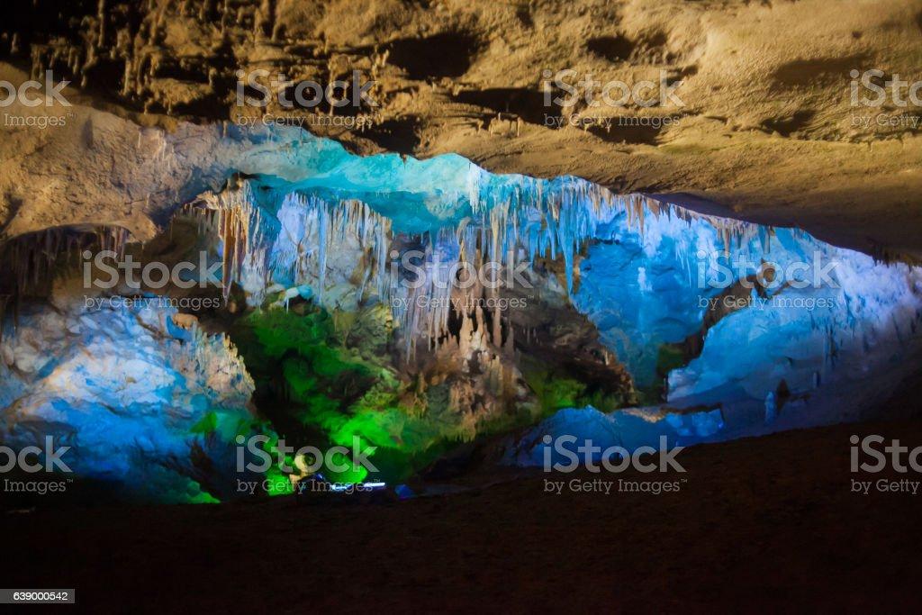 Cave-stone background in Prometheus Cave in Georgia stock photo