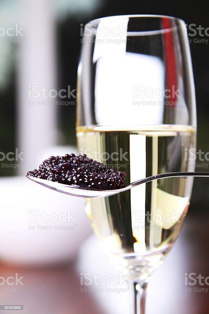Caviar and champagne stock photo