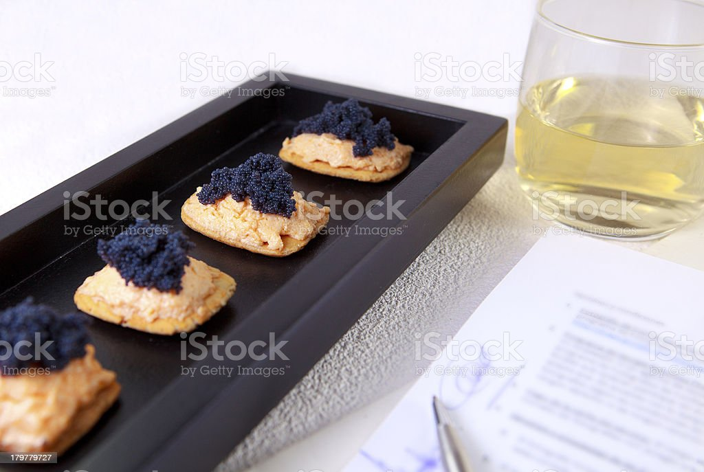 Caviar and salmon canape for closed buisness royalty-free stock photo